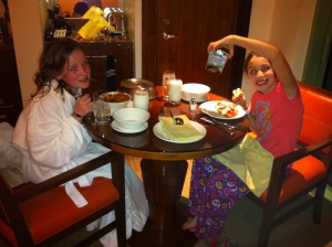 The Girls enjoying Room Service Dinner